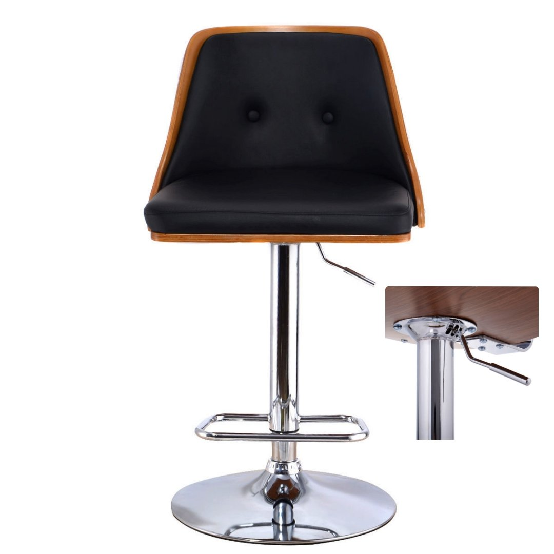 Contemporary Bentwood Bar Stool Adjustable Height 360 Degree Swivel Durable Button Tufted Design PU Leather Upholstery Seat Stable Footrest Chrome Steel Frame Pub Chair New #1096