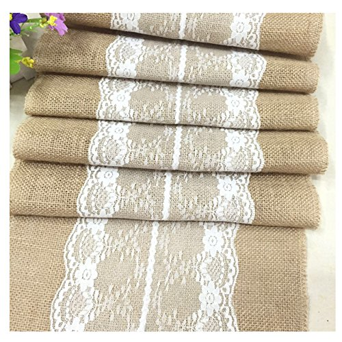 NikiCains 12x108 Inch Burlap Cream Lace Hessian Table Runners Jute Rustic Country Wedding Party Decoration Farmhouse Décor Middle Lace 13