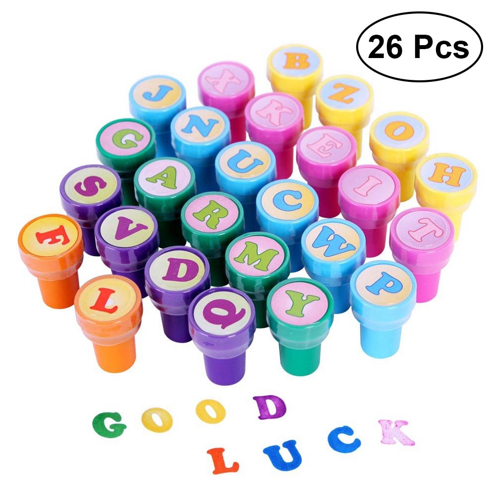 TOYMYTOY 26pcs Alphabet Stamps Set Assorted Plastic Letter Stamper for Students Kids Prize Gift Birthday Party Favors Supplies