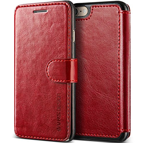 iPhone 8 Case/iPhone 7 Case :: VRS :: Drop Protection Cover :: Classy Slim Leather Wallet:: ID Credit Card Slot Holder for Apple iPhone 7 / iPhone 8 (Layered Dandy - Wine Red) (Pu Leather Slim Design)