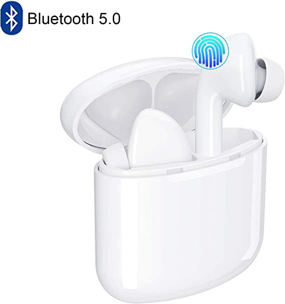 Bluetooth Wireless Earbuds 5.0 Magnetic Earphones Lightweight Ear Buds Mic Stereo in-Ear Headphones Sports Headset IPX5 Waterproof Hi-Fi Sound Charging Case Compatible Android
