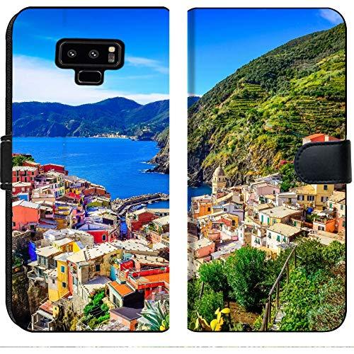 (Luxlady Samsung Galaxy Note 9 Flip Fabric Wallet Case Image ID: 22816014 Scenic View of Colorful Village Vernazza and Ocean Coast in Cinque Terre)