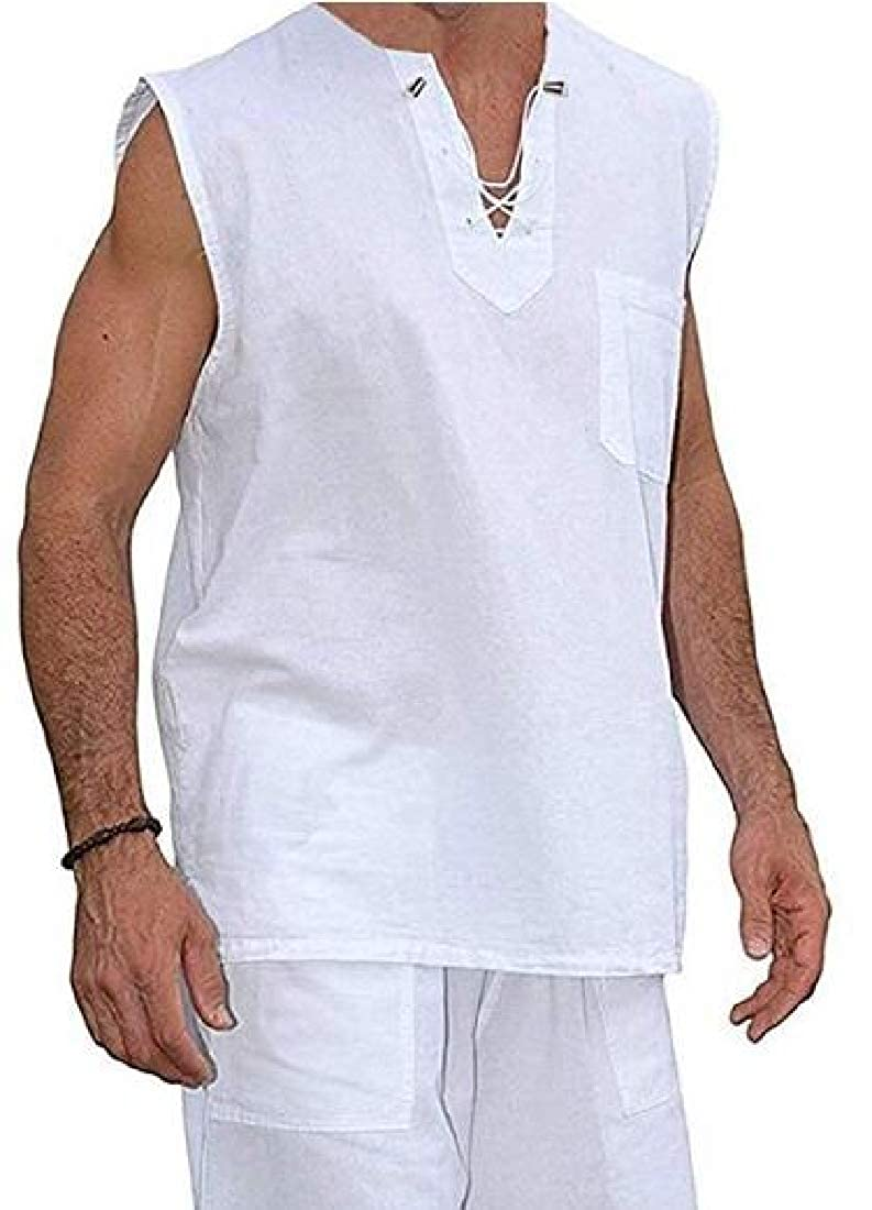Fubotevic Mens Cotton Linen Sleeveless Lace Up Solid Color Summer Jersey T-Shirt Tank Top