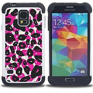 """SAMSUNG Galaxy S5 V / i9600 / SM-G900 - 3 en 1 impreso colorido de Altas Prestaciones PC Funda chaqueta Negro cubierta gel silicona suave (Los puntos del leopardo Animal Rosa Negro"""")"""
