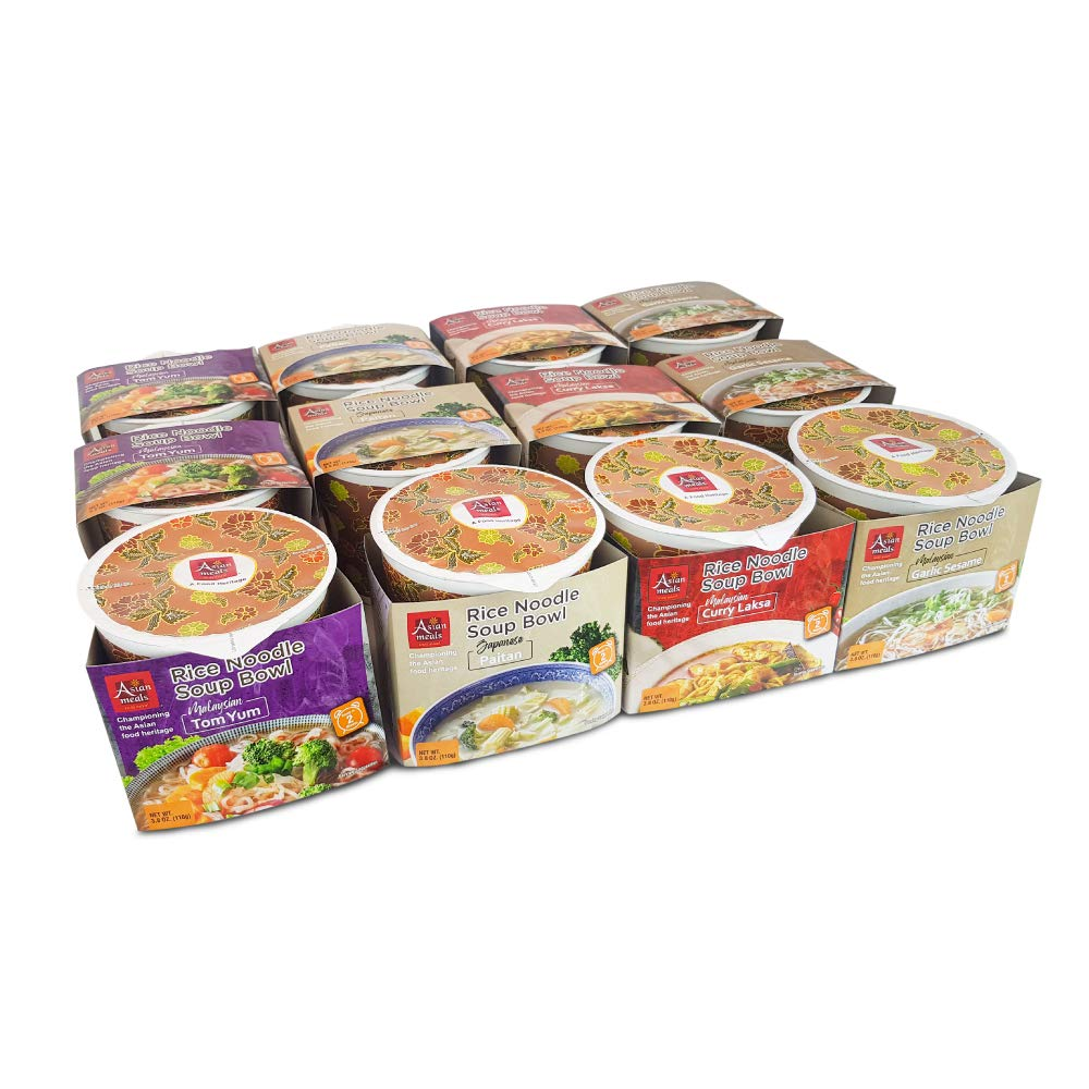 Asianmeals Assorted Packs Rice Noodle Soup Bowl, 3x Tom Yum, 3x Curry Laksa, 3x Garlic Sesame, 3x Japanese Paitan, Gluten Free Ramen, Food Pantry, Variety Pack, Healthy Noodle, 3.8oz each