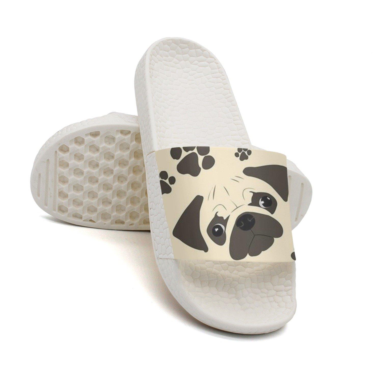 Lovely Pug Dogs Loves Bone Summer Slippers For Women