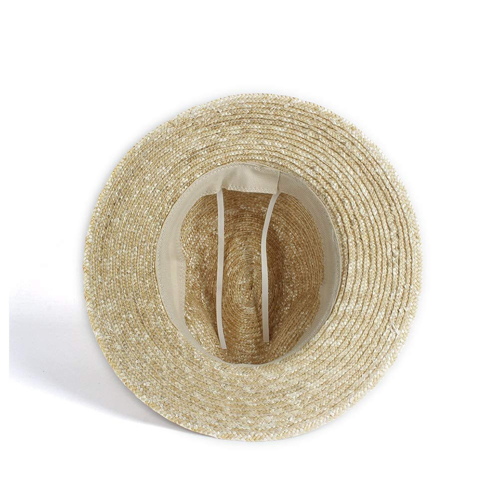 MISSMARCH Mens Womens Straw Hat Jazz Hat with Dough Cloth Flat Winged Beach Hat UC Visor Cap Panama Cap Sun Hat Straw A Sunscreen hat with a Large Brim
