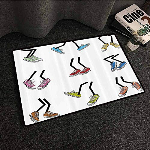 Cartoon Non-Slip Door mat Comic Book Style Walking Feet Colorful Sport Sneaker Shoes Footwear Fashion Graphic Easy to Clean Carpet W35 xL47 Multicolor
