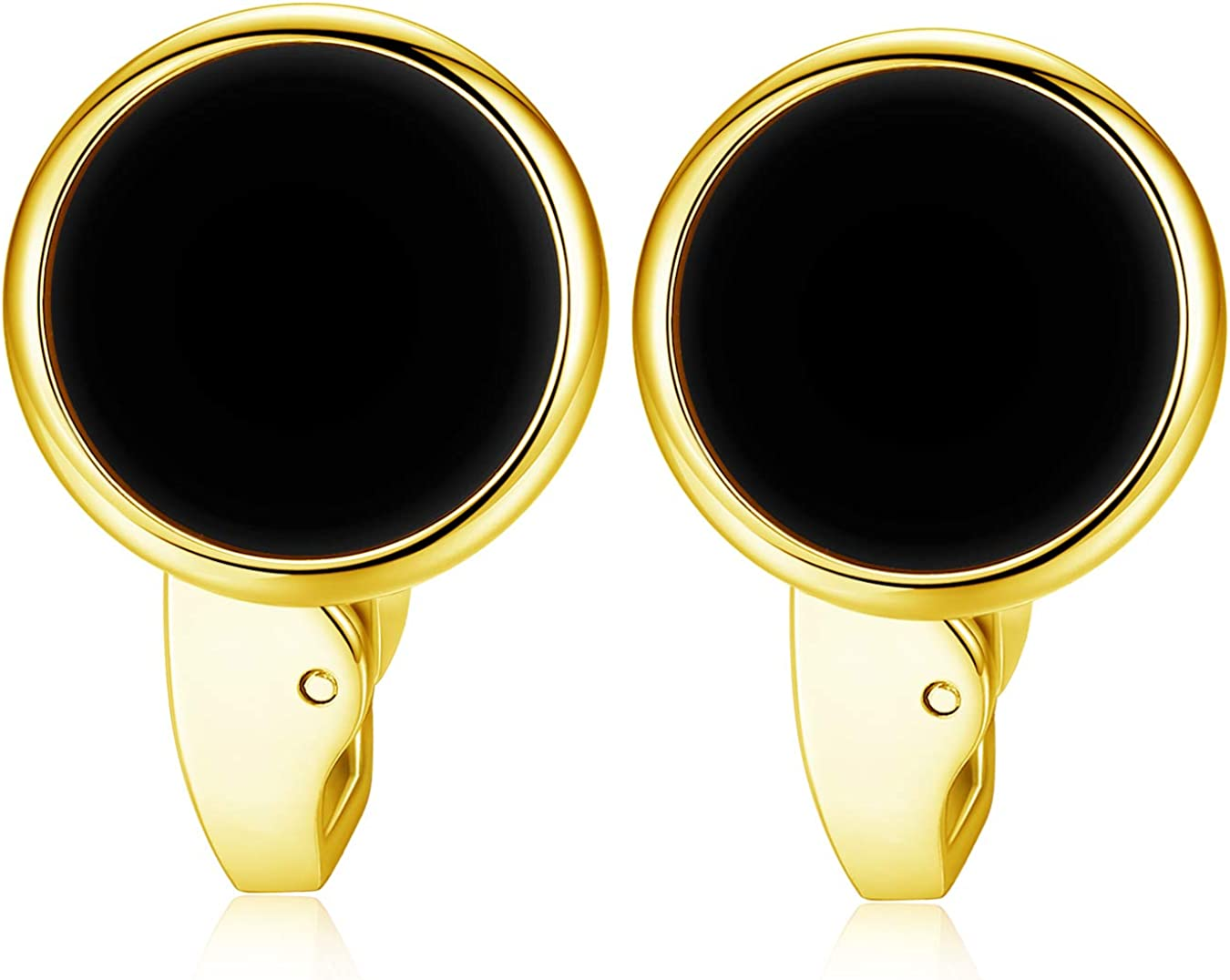 HONEY BEAR White Pearl Shell Black Onyx Cufflinks Round for Mens Gift