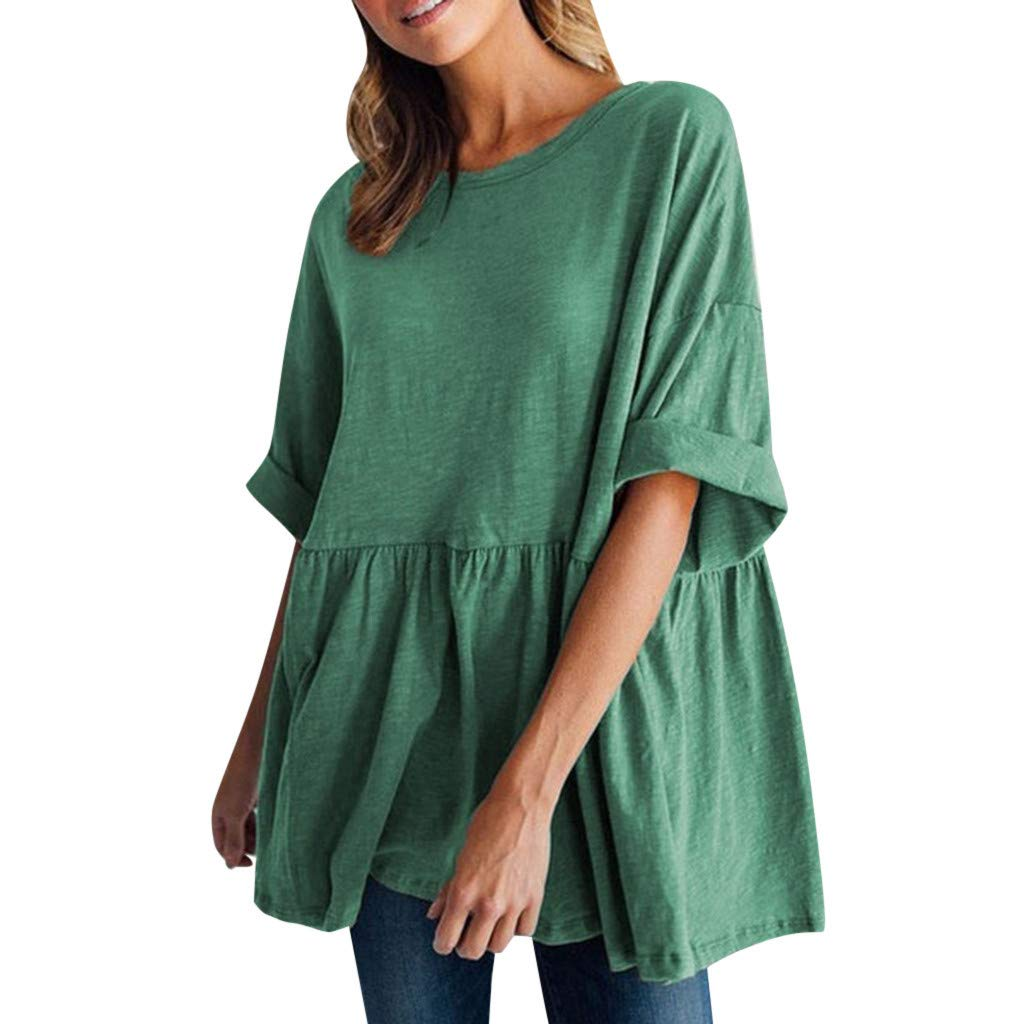 Women's Round Neck Short-Sleeved Loose Cotton Top Camis Tunics Blouse Green
