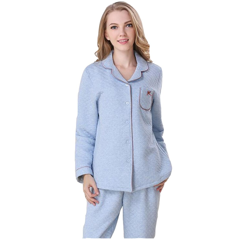 Sunshine Fashion Simple Autumn and Winter Cotton Interlayer Warmly Pajamas bedgown Long Sleeved Nightgown Sleepwear Set