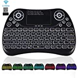 Upgraded 2018,Colorful 2.4GHz Wireless Mini Keyboard Backlit with Touchpad Mouse Combo,USB Handheld Rechargeable Multimedia Remote Keyboard for PC,HTPC,IPTV,Tablet,Smart TV,Android TV Box other device
