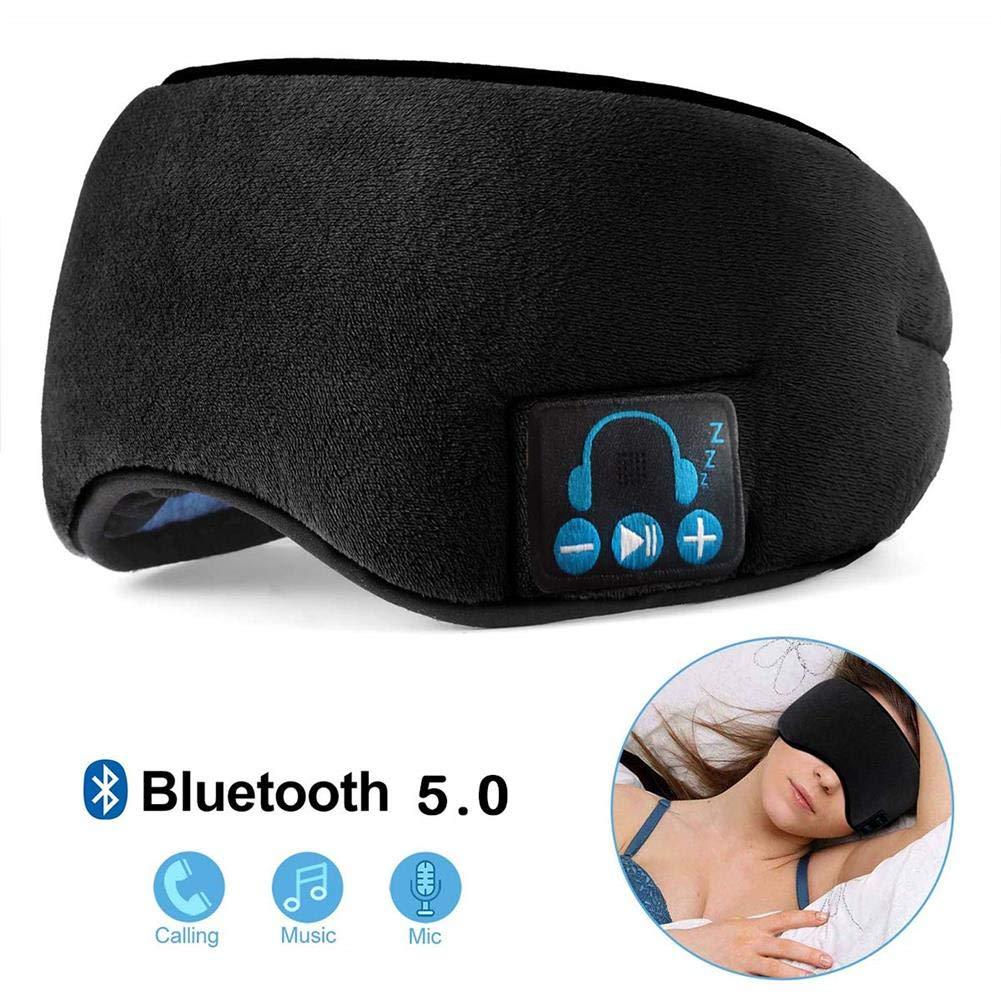 Wireless Headphones Sleeping Eye Mask Bluetooth 5.0, Adjustable Music Sleep Eye Shades with Built-in Speakers Microphone Handsfree Washable Perfect for Air Travel and Sleeping (Black)