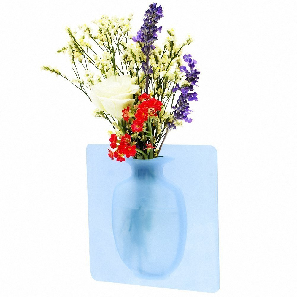Removable Silicone Flower Vases with Strong Sticky,Wall Hanging Flower Planter Vase Holder Display for Party Exibition Wedding Festival Home and Kitchen Decoration