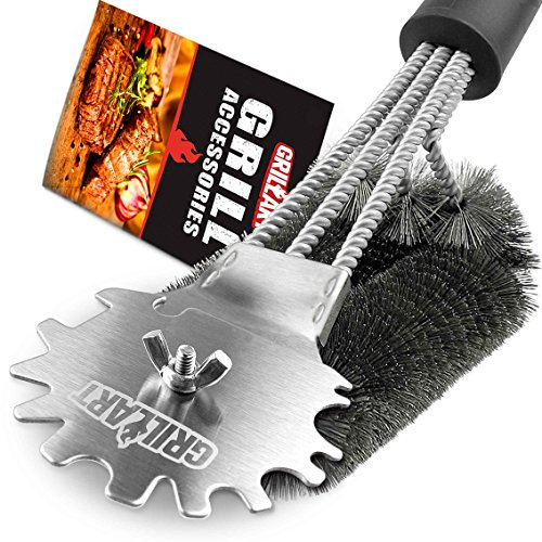 Grill Brush and Scraper Universal Fit - Adjustable BBQ Grill Accessories Cleaning Kit - 12 Grooves Safe 18'' Stainless Steel Barbecue Grill Cleaner Wizard Tools for Weber Gas/Charcoal Grilling Grates by GriIIArt