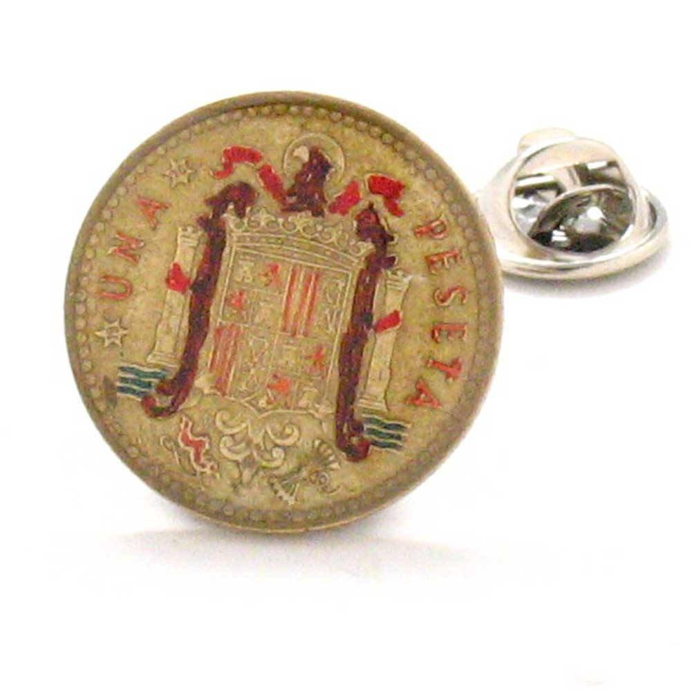 Spain Coin Tie Tack Lapel Pin Suit Barcelona Madrid España Joyeria Joyas Corbata Traje LDS Missionary