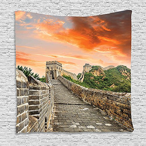 Brick Wool Mens Orange - SCOCICI Supersoft Fleece Throw Blanket Great Wall of China Hazy Scenic Sky over Eastern Monument with Bricks Old Ruins Image Grey Orange 59 x 59 Inches