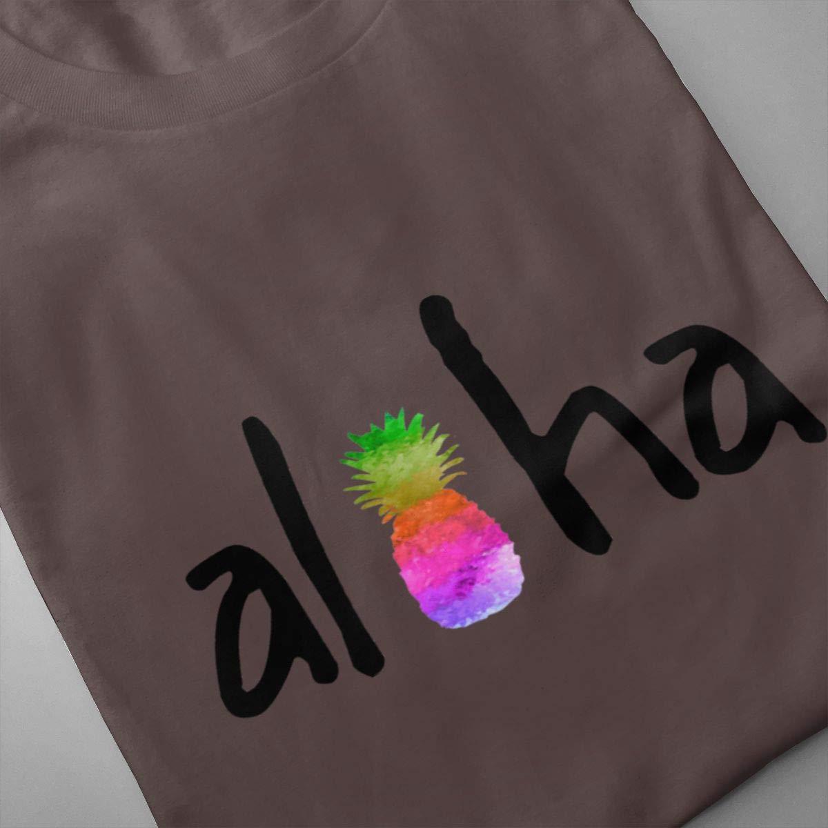 VIIHAHN Men Design Aloha Fruit Pineapples Basic Gym Round Neck Short Sleeve Shirts