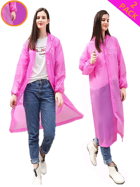 HLK.Sports Rain Ponchos, [2 Pack] Reusable EVA Rain Coat, Size 59'' by 27.5'' (D-Rose) by HLK.Sports