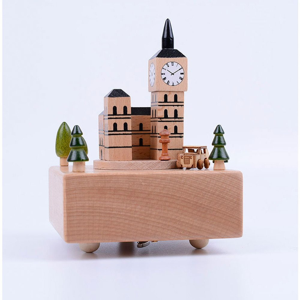 BWLZSP 1 PCS Beech wood arts and crafts home decoration creative gift wooden music box British clock music box holiday gift AP52471016