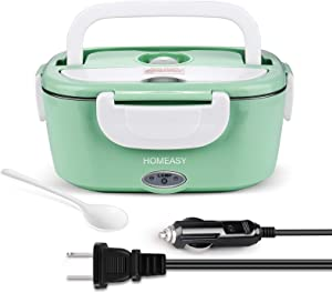 Electric Lunch Box 1.5L, homeasy 2 in 1 Food Heater Warmer for Car, Office, School, Home Use, Removable Food-Grade Stainless Steel Food Container with Compartments, 110V & 12V 40W, Mint Green