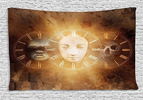Psychedelic Tapestry Gothic Spooky Birth Life Death Mask and Skull Baby Face Sacred Design Wall Hanging for Bedroom Living Room Dorm Tan (Skull Sock Mask)