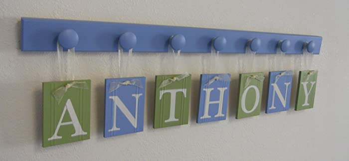 blue and green wall letters custom wood name personalized name letters nursery decor