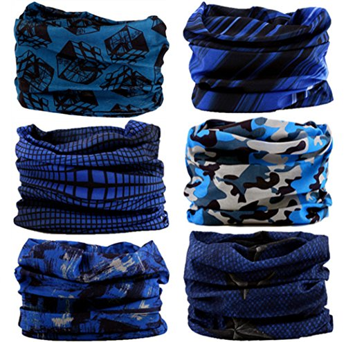 Multi Scarf - VANCROWN Headwear Head Wrap Sport Headband Sweatband 220 Patterns 12 in 1 Magic Scarf 12PCS & 6PCS 12 in 1 (6PCS.Blue)
