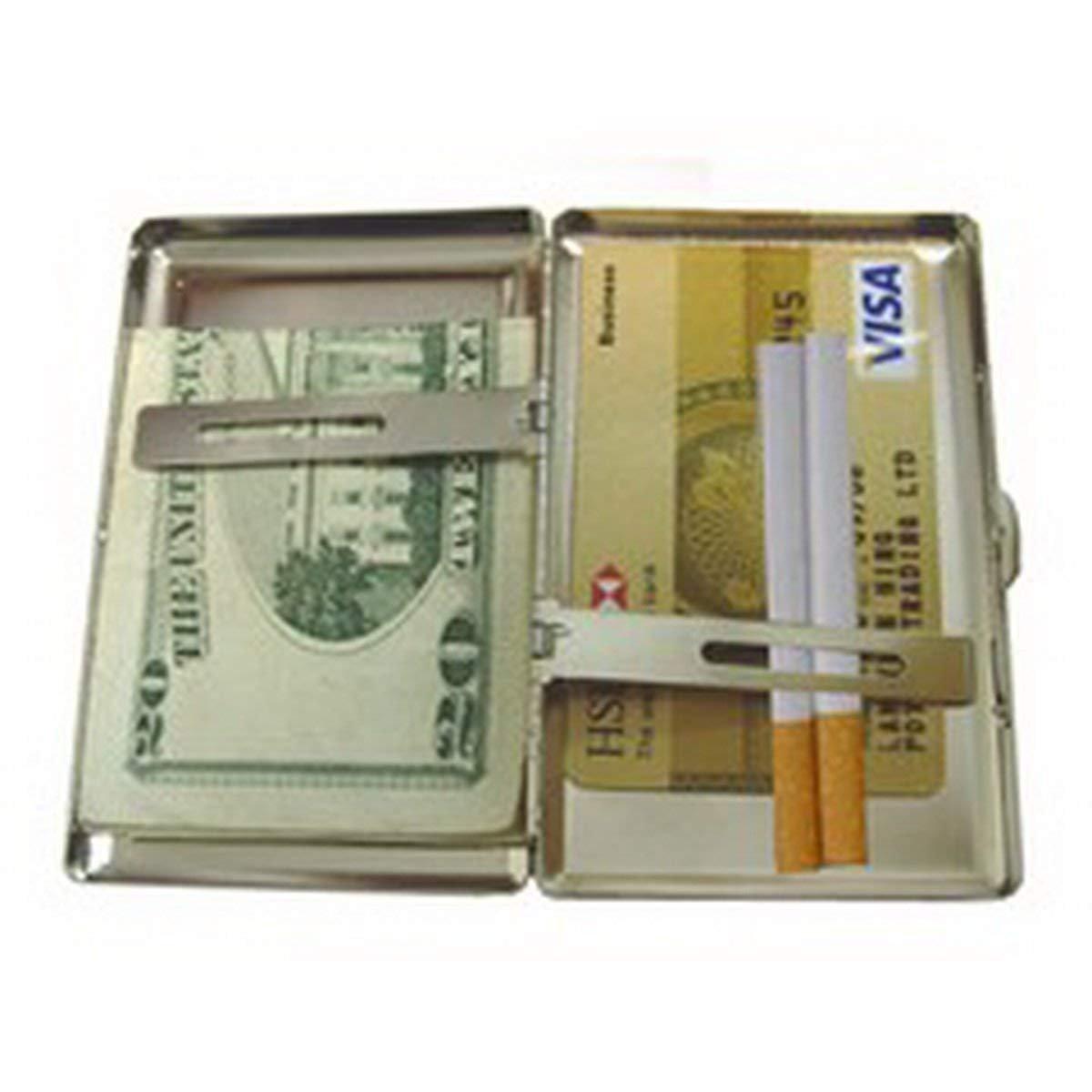 portasigarette//scatola per elicotteri della guardia costiera Portasigarette in metallo argentato portacarte di credito per uomo donna