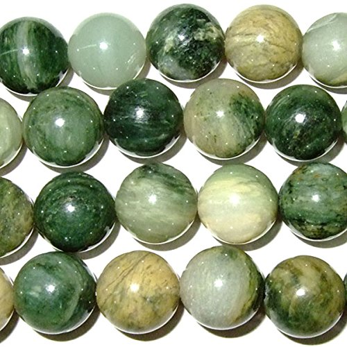 TheTasteJewelry 8mm Round Green Rutilated Jasper Beads 15 inches 38cm Jewelry Making Necklace Healing