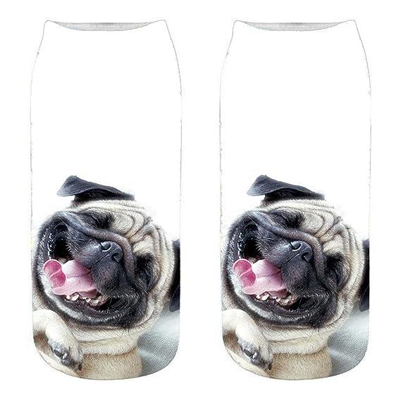 Morbuy Unisexo Adulto Calcetines, 3D Impresión Hombres y Mujer Pug Cachorro Novedad Elástico Deportes Socks (A): Amazon.es: Ropa y accesorios