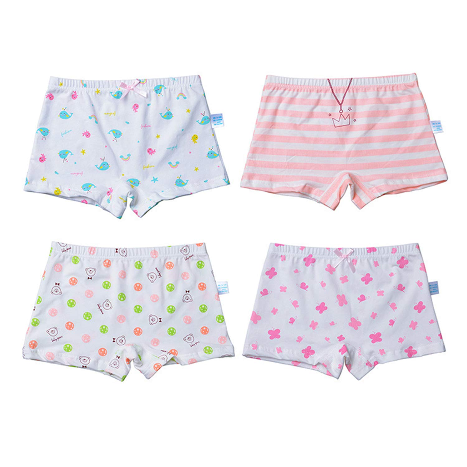 Bubble2 Girls Kids Underwear Assorted Cotton Brief Panties Pack of 4 L