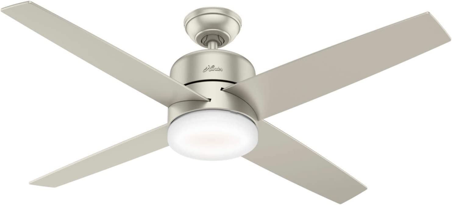"Hunter Advocate Indoor Wi-Fi Ceiling Fan with LED Light and Remote Control, 54"", Matte Nickel"