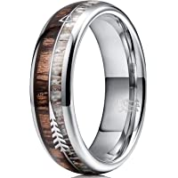 THREE KEYS JEWELRY 8mm Silver Tungsten Wedding Ring with Wood Two Arrows Inlay