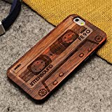 iphone SE 5 5S Case, AICOO YCL Real Wooden Handmade Embossed Pattern Carving Wood With Hard Plastic Back Skin Case Cover For iphone 5 5S SE(2016) - Tape