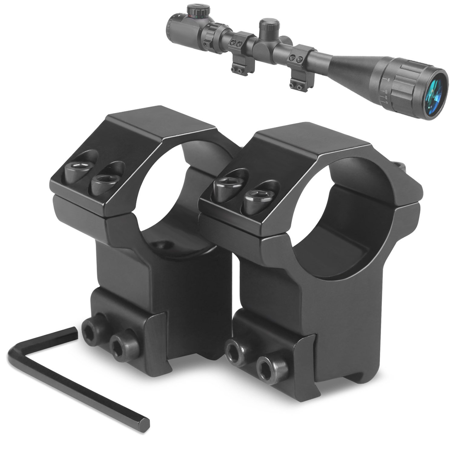 Modkin 1'' Dovetail Scope Rings, High Profile Scope Mount for 11mm Dovetail Rails -2 Pieces (One has Stop pin)
