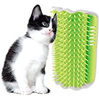 Cat Catnip Toy Cat Corner Groomer Massage Brush for Cats with Long & Short Fur (Green)