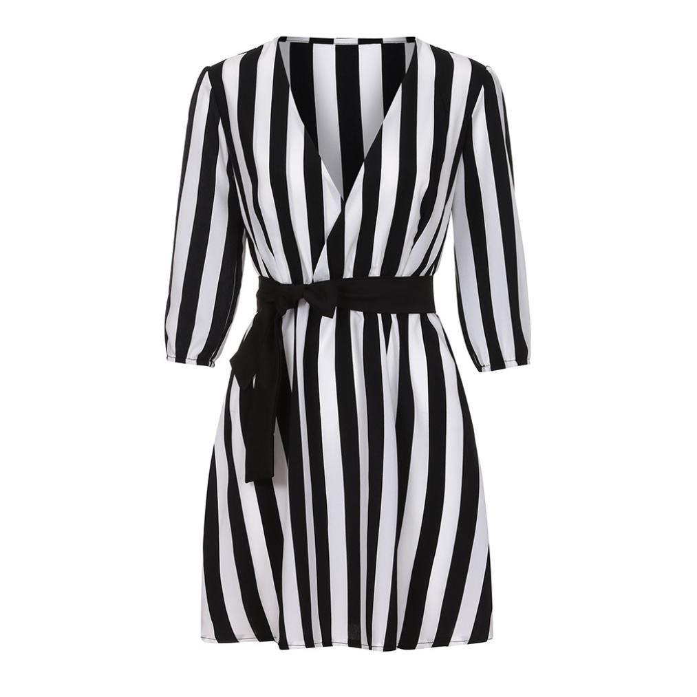 Noir, XXL la Robe De Ma Vie,WINWINTOM 2018 Grande Promotion V/êTements Femmes V-Cou Ray/é Robe D/éT/é Noir Blanc Ray/é Plage L/âChe Robes D/éContract/éEs Robe /à Manches Courtes