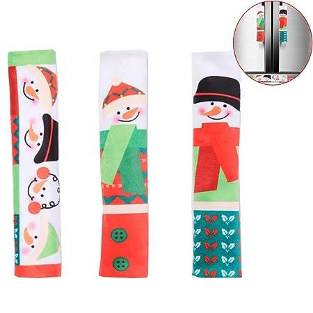 WJX Navidad refrigerador Puerta de la manija Cubre Juego de ...