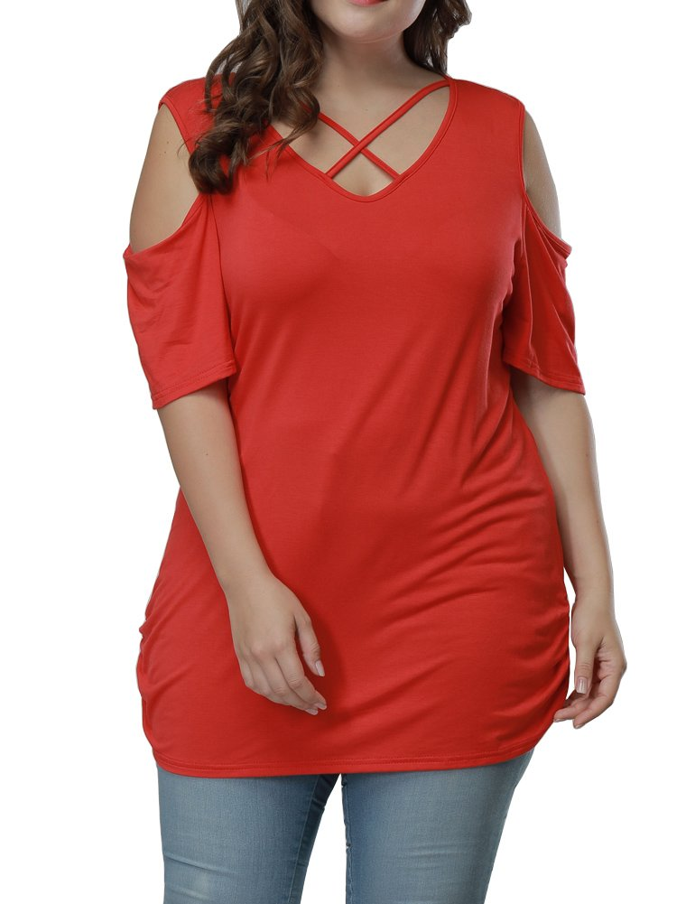 Allegrace Women Summer Plus Size Sexy Criss Cross Summer Top Cold Shoulder T Shirt Red 2X