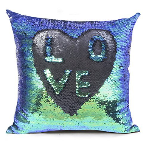 Shevalues Sequins Pillow Cover Mermaid Fish Scale Pillowcase