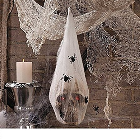 Halloween Haunted House Decoration Prop SKULL in SPIDER COCOON Light Up Eyes NEWEST (Living Dead Doll Hollywood Costume)