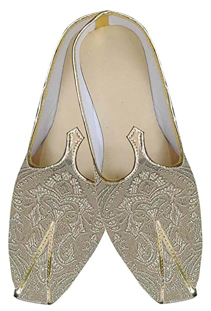 Mens Golden Indian Wedding Shoes Flower Design MJ0145