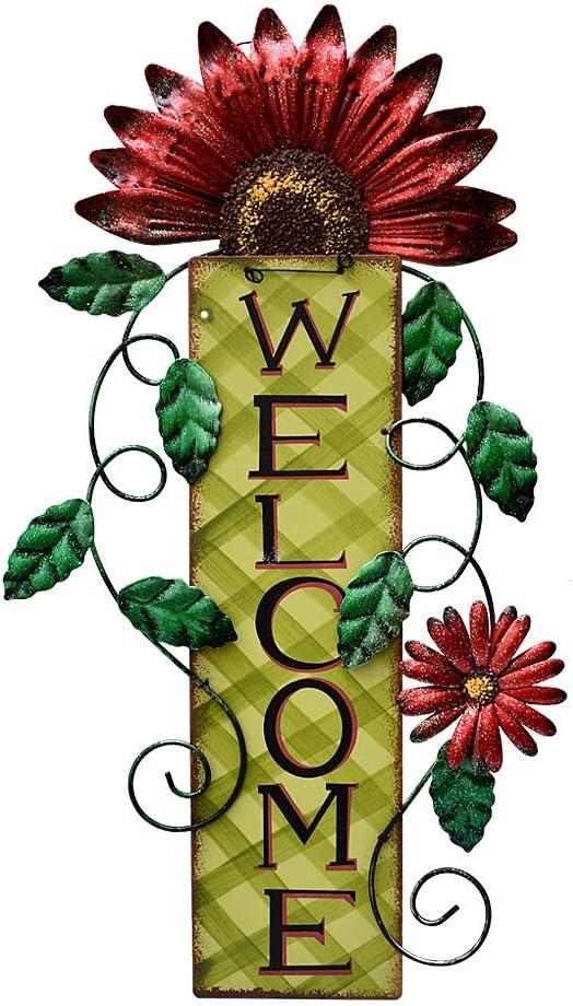 Haust/ür dekorative Welcome-Blumen-Schilder f/ür Veranda E-view Metallschild rustikales Wandschild zum Aufh/ängen Bauernhaus Dekoration f/ür Garten Antik 3er Set