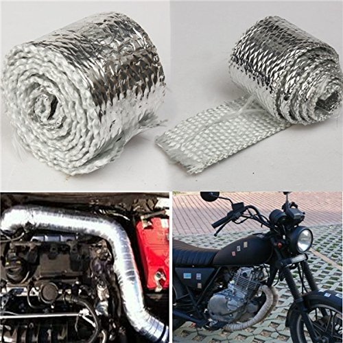 1m Chrome Exhaust Thermal Heat Wrap Tailpipes Downpipe Kit Car ()