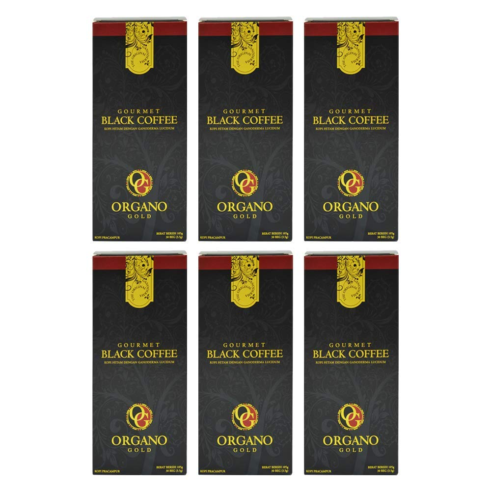 6 Boxes Organo Gold Gourmet Black Coffee - 180 Sachets by Organo Gold