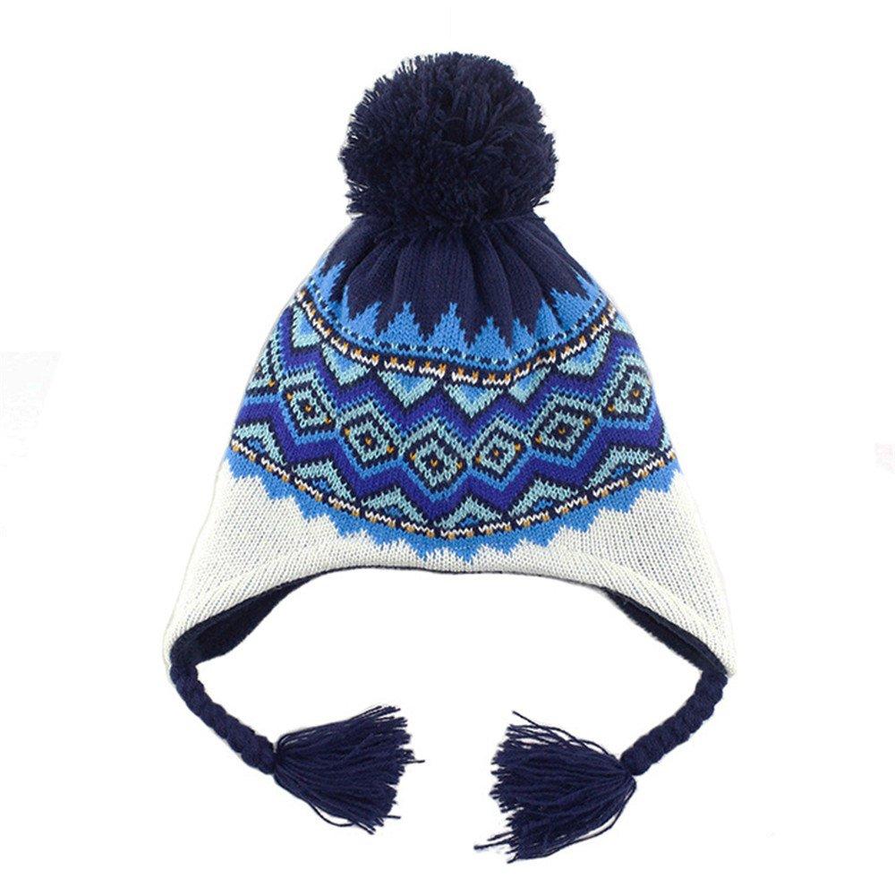 Beanie Bobble Pompom Hat Braid Kids Baby Boys Girls Autumn Winter Ski Knitted Ear Flap Peruvian Cap DH1503A