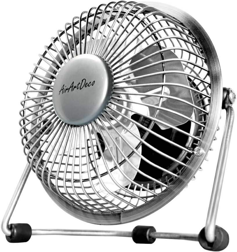 AirArtDeco 4 Inch USB Powered Desk Fan, Small Quiet Portable Fan with 5V DC Motor, 1 Speeds Metal Desktop Fan, Perfect Mini Personal Fan for Home Office (Silver - Dim Polish)