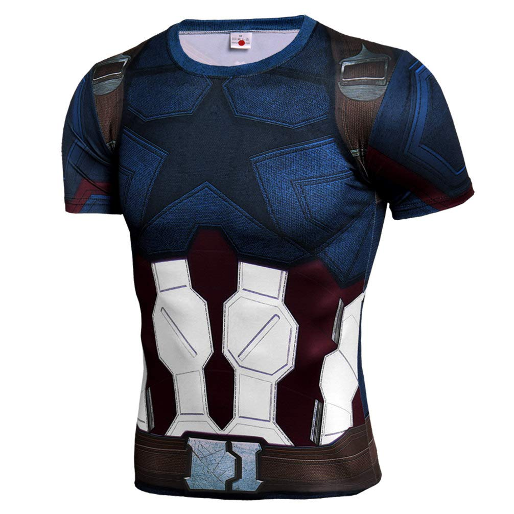 Mens Captain America Compression Workouts Gear Short Sleeve Print T Shirt