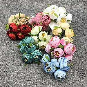 Amapower Colorful DIY Craft Headdress Wreath Decoration Silk Camellia Fake Bouquet Artificial Flowers 43